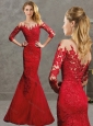 Luxurious Laced Mermaid Red Modest Prom Dress with Off the Shoulder