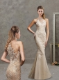 Modest See Through Scoop Mermaid Applique Evening Dress in Champagne