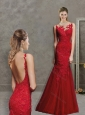 Most Popular Mermaid Laced Scoop Prom Dress in Red