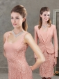 Most Scoop Laced Peach Mother of the Bride Dress in Knee Length