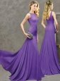 New Arrivals Bateau Brush Train Purple Modest Prom Dress with Button Up