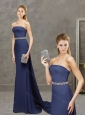Perfect Belted with Beading Navy Blue Mother of the Bride Dress with Watteau Train