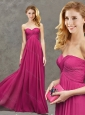 Popular Ruched Decorated Bust Fuchsia Mother of the Bride Dress in Chiffon