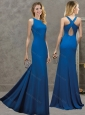 Pretty Royal Blue Column Long Modest Prom Dress with Criss Cross
