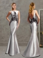 Romantic Applique Mermaid Silver Mother of the Bride Dress with Bateau