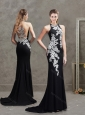 Sophisticated Applique Brush Train Black Modest Prom Dress with Halter Top