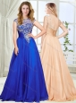 Beautiful See Through Scoop Royal Blue Modest Prom Dress with Beading