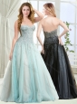 Gorgeous Beaded Brush Train Tulle Evening Dress with Zipper Up