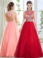 Romantic See Through Back Beaded Wine Red Evening Dress with High Neck