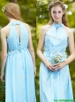 Discount Halter Top Light Blue Prom Dress with Appliques