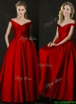Latest Bowknot Wine Red Long Prom Dress with Off the Shoulder