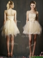Lovely Sweetheart Short Champagne Bridesmaid Dress with Belt and Ruffles
