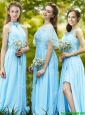 Modest Light Blue Empire Long Bridesmaid Dress with Appliques