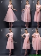 Most Popular Baby Pink Tulle Bridesmaid Dress in Tea Length