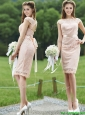 See Through Scoop Cap Sleeves Bridesmaid Dress with Sashes