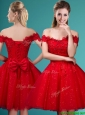 Wonderful Off the Shoulder Cap Sleeves Prom Dress with Beading and Bowknot