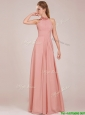 Low Price Halter Top Peach Long Bridesmaid Dress in Chiffon