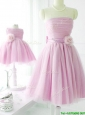 New Arrivals Strapless Baby Pink Bridesmaid Dress with Handcrafted Flower