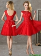 Romantic Bateau Cap Sleeves Short Bridesmaid Dress with Lace