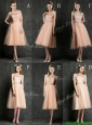Best Selling Sashed Peach Prom Dress in Knee Length