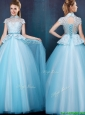 Elegant High Neck Cap Sleeves Prom Dress with Bowknot and Lace