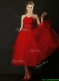 Elegant Tea Length Applique Red Prom Dress with Asymmetrical Neckline