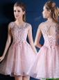 Exquisite Baby Pink Scoop Prom Dress with Appliques and Beading
