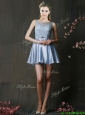 Fashionable Light Blue Short Prom Dress with Lace and Belt