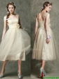 Gorgeous Straps Champagne Prom Dress with Appliques and Hand Made Flowers