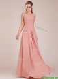 Modest Ruched Decorated Bodice Peach Prom Dress with V Neck