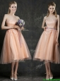 Discount Hot Sale Strapless Peach Prom Dresses  with Sashes and Lace