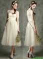 See Through Scoop Champagne Prom Dresses  with Hand Made Flowers and Appliques