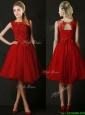 Discount Knee Length Red  Prom Dresses  with Beading and Appliques