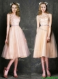 Elegant Laced and Sashed Scoop Bridesmaid Dresses in Peach