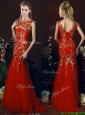 Elegant Mermaid Red Prom Dresses with Gold Sequined Appliques