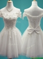 Gorgeous White Off the Shoulder Cap Sleeves Prom Dresses  with Beading and Bowknot