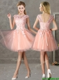 New Style Bateau Peach Short Bridesmaid Dresses with Lace