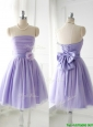 Simple Handcrafted Flower Tulle Lavender Prom Dresses with Strapless