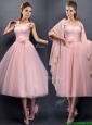 Classical Straps Baby Pink Prom Dresses  with Appliques and Hand Made Flowers