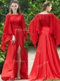 Elegant Bateau Long Sleeves Red Bridesmaid Dresses with Beading and High Slit