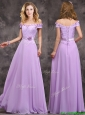 Latest Off The Shoulder Long Bridesmaid Dresses with Hand Made Flowers