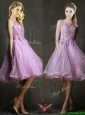 Popular See Through Beaded and Applique Bridesmaid Dresses in Lavender