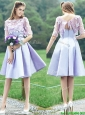 New Style Bateau Half Sleeves Lavender  Mother of the Bride Dresses  with Appliques