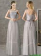 Cheap See Through Scoop Grey Long Mother of the Bride Dresses with Appliques