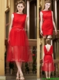 Exclusive Bateau Lace Tea Length Mother of the Bride Dresses  in Red