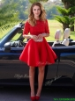 Exquisite Laced Scoop Half Sleeves Mother of the Bride Dresses  in Red