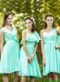 Lovely Belted and Ruched Short Prom Dresses in Apple Green