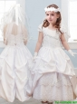 Affordable Halter Top Lace and Pick Ups Flower Girl Dress in White