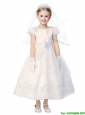 Classical Scoop Short Sleeves Flower Girl Dress with Appliques and Bowknot