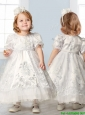Discount Scoop Short Sleeves Flower Girl Dress with Embroidery and Lace